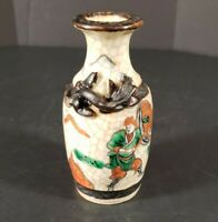 Vintage Crackle Glaze Chinese Vase With Fighting Warriors