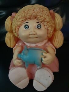 CABBAGE PATCH KID 1983 DOLL PLASTIC BANK PINK DRESS BLONDE HAIR/E STOPPER