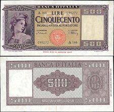 500 Lire Italia ornata di spighe 10/2/1948 Einaudi Urbini