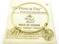 Wind & Fire Maid Of Honor Charm Gold Wire Bangle Stackable Bracelet USA Gift