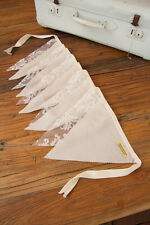 2m Handmade Bunting Flags IVORY Lace & Cotton Party Wedding Child Bedroom Decor