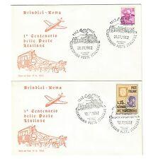 ITALIA 1962 1° centenario delle poste brindisi roma 2 fdc 15 lire cod.bu.058