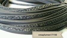 50cm Cordon plat imitation cuir noir et argenté  5x2mm