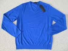 NWT Auth Z Zegna Solid Blue Wool V Neck Long Sleeve Sweater Sz L $445