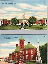 2  Postcards  PHILLIPSBURG, New Jersey  NJ   HIGH SHOOL, City Hall, War Memorial