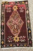 "Antique 31""x 20""  Oriental Knotted Wool Small Rug Prayer Mat Unique"
