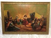 Impressionist Oil Painting Gypsy Camp Women Dancing After Joseph Farquharson