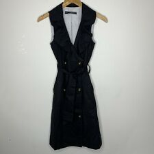 Basque Trench Tuxedo Dress Black Sleeveless Cotton Blend Button Up Size 6