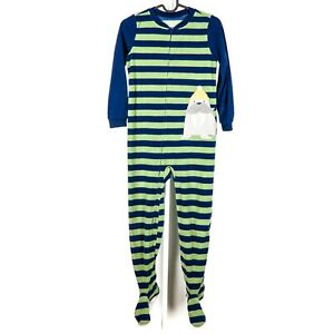 Carters Footie Pajamas Footed 8 Boys Striped Fleece Walrus Green Blue PJs