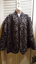 Maggie Barnes Reversible Open Blazer Jacket Gray Black &  Black Sz 3X 26/28