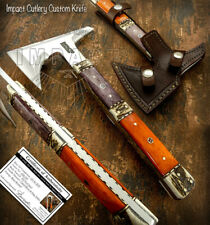 IMPACT CUTLERY RARE CUSTOM D2 FULL TANG HATCHED, TOMAHAWK AXE KNIFE STAG ANTLER