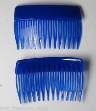 VINTAGE HAIR COMBS BLUE PAIR HONG KONG HAIR ACCESSORIES