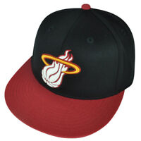 NBA Adidas Miami Heat TX83 Flat Bill Fitted 7 1/4 - 7 5/8 Hat Cap Black Red