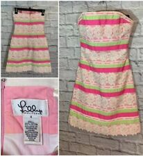 Lilly Pulitzer Pink Green White Ribbon Cotton Lace Lined Strapless Size 4 Dress