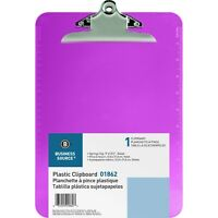 """Business Source Plastic Clipboard Spring Clip, Violet, 9"""" x 12.5"""", BSN01862"""