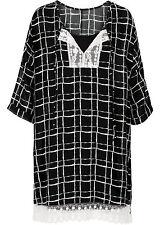 Damen trendiges Kleid mit Spitze in schwarz/weiß kariert Größe 40 NEU