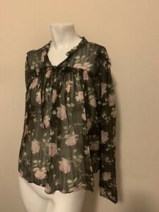 Ulla Johnson sheer silk floral poppy blouse thread size 8 EUC!