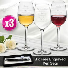 3 x Personalised Wine Glasses 360ml Engraved Glass Wedding Gift Bridesmaid Favor