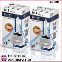 2 x D1S Genuine LUNEX XENON 6000K HID BULB compatible with 66043 66144 85410 UB