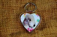 Bedlington Terrier Keyring Dog Key Ring female heart Birthday Gift