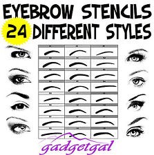 24 Different Eyebrow Stencils - Eye Liner Shapes / Brow Shaper / Makeup Guides