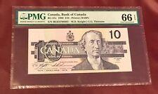 Canada Bank 10 Dollars Bank Note 1989 Pmg 66 Gem Unc Pick 57c Rare