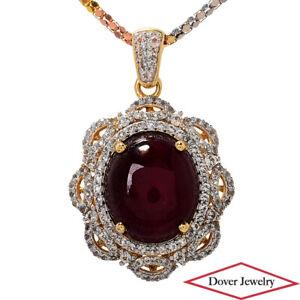 Estate 17.06ct Sapphire Ruby Sterling Silver Elegant Pendant Necklace 11.1 Gr NR