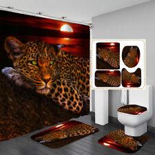 Moon Leopard HD Print Shower Curtain BathMat Toilet Cover Rug Bathroom Decor