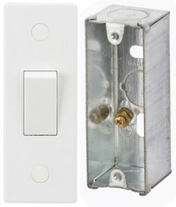 Slim 1 Gang 10A 2 Way Architrave Switch & METAL Back Box in White 10AX