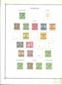 JimbosStamps, U.S bureau precancels, state of FL,, 1 pg.,17 stamps, 1923-32