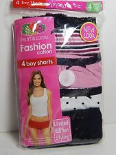 FOTL Women's 4-Pack Cotton Fashion Boy Shorts Panties Underwear Sizes 4 xs