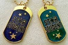 """""""Star Student"""" Moon Color Bling Dog Tags w/24"""" Chain & 4"""" Chain/Lot of 25/Nib!"""