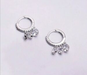 925 Sterling Silver Cubic Zirconia Water Drop Small Hoops