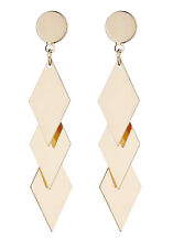 Clip On Earrings - gold plated with three linked diamond shapes - Kallie G