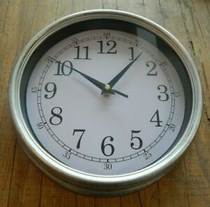 WALL CLOCK RUSTIC STYLE SILVER HOME GIFT UK SELLER