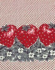 Vintage Fabric Strawberry Boarder Print Antique Cotton Retro Cute! 4 Yards