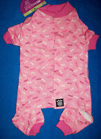 New Size XS Pink Woof Bones Dog Pajamas Sleepwear Dog Clothes Pet