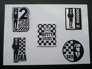 WHOLESALE SET OF FIVE SEW ON / IRON ON PATCHES:- TWO TONE SKA SKINS MADSTOCK (a)