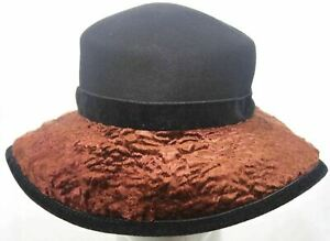 Platania Womens Black & Brown Wool Wide Faux Persian Lamb Brim Hat Made in Italy