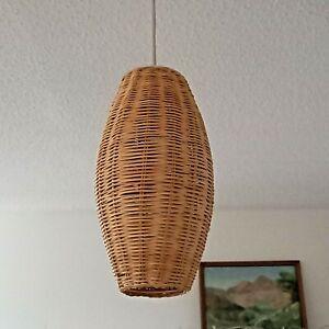 Wicker Rattan Slim Long Ceiling Lampshade Natural Tiki Boho Homeware Summer