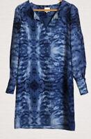 Reiss Dress Size 10 Blue Tie Dye Tunic Long Sleeves Deep Cuffs Smart Casual Work