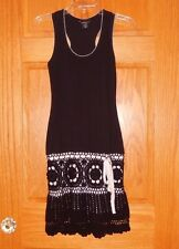 Victoria Secret Moda International XS Extra Small Black Tank Crochet Dress EUC