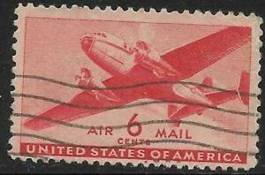 5v0075 Scott C25 US Air Mail Stamp 1941 6c Twin-Motored Transport Used