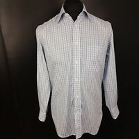 HUGO BOSS Mens Casual Shirt 38 / 15 Long Sleeve Blue Regular Fit Check Cotton