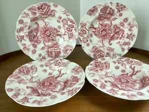 Johnson Bros English Chippendale PINK / RED Soup Salad Bowl Rimmed ~ Set of 4