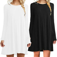 Women's Long Sleeve Pleated Pullover Crew Neck Tops T-Shirt Dress Fashion S-2XL