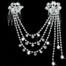 Wedding Bridal Crystal Hair Pins Comb Headband Head Chain Silver Flower Gift