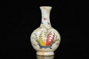"""7"""" Chinese Coloured Glaze Paintings Butterfly Arabesquitic Flower Vase"""