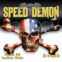 Skull Crossbones Sticker American Flag Toolbox Stickers Locker Decal Speed Demon