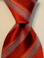 ERMENEGILDO ZEGNA Men's 100% Silk Necktie ITALY Luxury Striped Red/Blue/Pink EUC